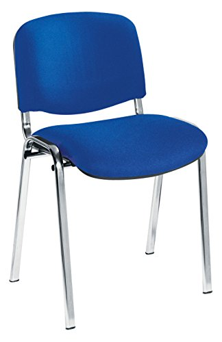 Get Office Hippo Heavy Duty Stackable Reception Chair – Chrome Frame, Royal Blue Fabric, Pack of 4 Review