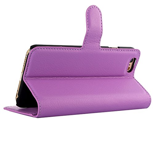 Phone case & Hülle Für iPhone 6 / 6s, Litchi Textur Horizontale Flip Leder Tasche mit Halter & Card Slots & Wallet ( Color : Black ) Purple