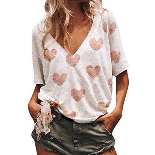 Bellelove Sommer Räumungsverkauf!Kurzarm Lace Casual Top für Frauen Shirt Weiblich Kurzarm T-Shirt Casual Bluse Sommer Tops T-Shirt - Lace Trim Kurze Höschen