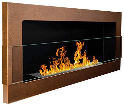 900x400 mm Gelkamin Bio-Ethanolkamin Biokamin Wandkamin dunkelbraun/bronze matt + Glasscheibe inkl. Halterung (TÜV - Rheinland geprüft) (Gelee-gläser Welch)