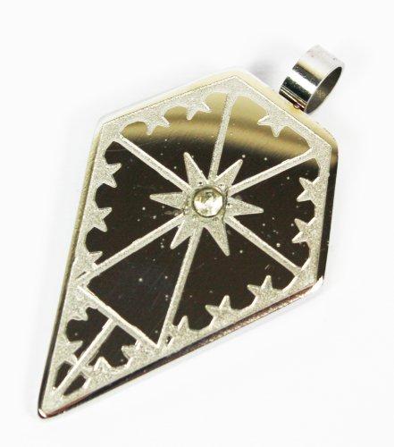 Herren Oder Damen Unisex Edelstahl Diamant geformter Star Muster Anhänger mit Single Diamant (mit) auf 45,7cm Schnur Halskette Modeschmuck