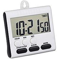Mudder Timer da Cucina Digitale, Allarme Magnetico 24 ore Orologio Timer con Stand, Grande Schermo (Bianco-Nero)