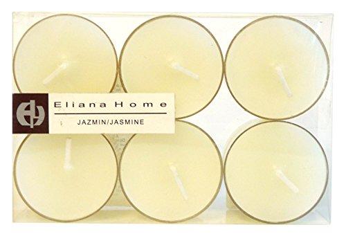 Eliana Home 463006 – Lot de 6 Bougies Chauffe-Plat – Jasmin