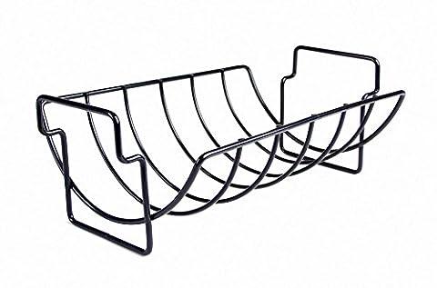 Charcoal Companion Non-Stick Reversible Roasting Rib Rack - Black