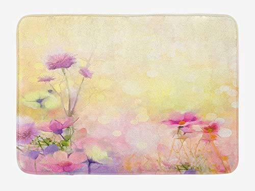 Flower Bath Mat, Vintage Soft Colored Feminine Magnolia Blooms Whorls Motif Artwork Print, Plush Bathroom Decor Mat with Non Slip Backing, 15.7X23.6 inch, Pink Pale Yellow Magnolia Flower Bowl