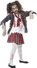 Idea Regalo - Smiffys Costume Scolara zombie, grigio, con gonna, giacca, camicia finta e cravatta