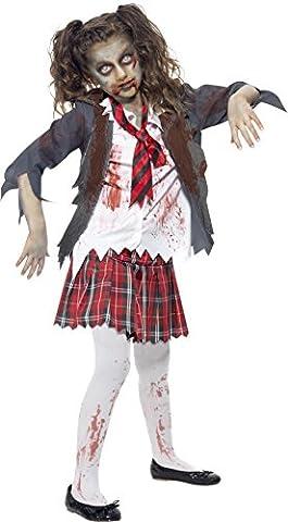 Smiffys Kinder Zombie Schulmädchen Kostüm, Rock, Jacke, Mock-Hemd und Krawatte, Größe: L, 43025