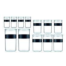 Bodum Storage Jar, Black, 4 x 0.25 l, 3 x 0.6 l, 3 x 1 l, 2 x 2 l