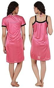 Fasense Exclusive Women Satin Nightwear Sleepwear 4 Pcs Set of Short Nighty, Wrap Gown, Bra & Thong DP100