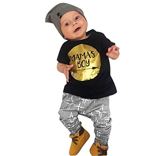 CHIC-CHIC 2pcs Baby Boy Letter Printed Cute Clothing Sets Outfits Short Sleeve T-shirts Top and Long Pants (18-24 Months, Black)