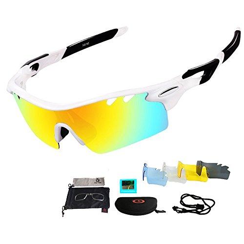Unisex Radbrille Sportbrille Sonnenbrille, UV-Schutz, 5 Wechselgläser inkl. Schwarze polarisierte Linse, für Outdooraktivitäten wie Radfahren Laufen Klettern usw. Schwarze und Rote zur Auswahl (Weiß&Schwarz (5 Wechselgläser))