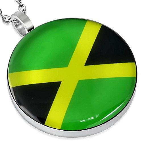Bungsa Ciondolo Bandiera giamaicana Argento Acciaio inossidabile Unisex