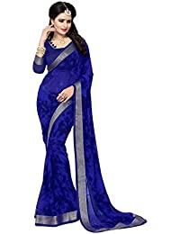 Oomph! Women's Fancy Chiffon Printed Sarees - Navy Blue