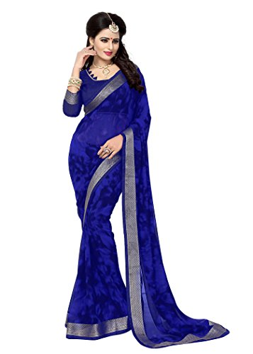 OOMPH! Chiffon Saree With Blouse Piece (rbaf_2493a_Navy Blue_Free Size)