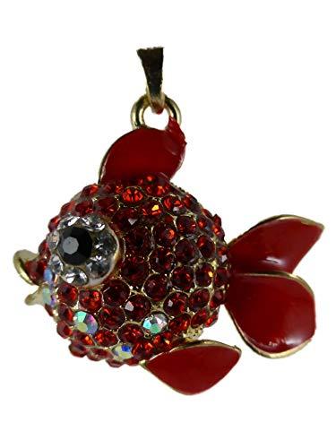 Halskette Kette Straß Stein goldfarben/rot Fisch Kampffisch Betta Splendens Aquarium Wasser Goldfisch 1553 (Betta Wasser)