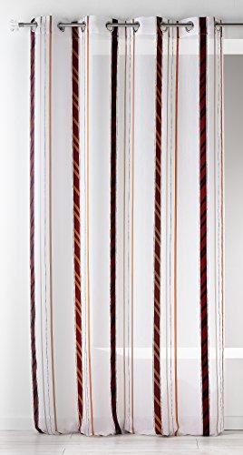 Casa casa hm6988300 fantasia a righe puro poliestere organza bordeaux verticali 140 x 260 cm
