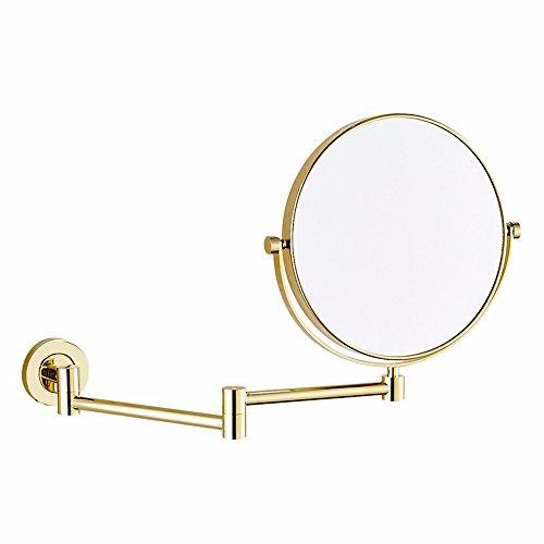 Kosmetikspiegel Kupfer Teleskopantenne klappbarer Bad Kosmetikspiegel, Lupe, Gold, 8 Zoll