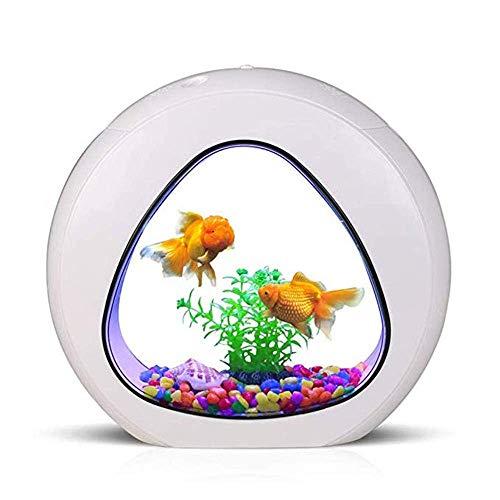 WSJTT LED Aquarium-3 in 1 Acryl Aquarium Eingebauter Filter Silent Air Pump mit Touch LED Lichter Pebbles und Simulierte Landschaftsgestaltung -