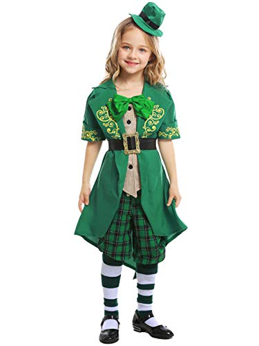 FStory&Winyee Mädchen Kostüm Alice im Wunderland Fairy Faschingskostüm Grün Kinder Fee Irland Kostüm Set mit Zylinder für st. Patrick's Day Halloween Weihnachten Karneval Verkleidung Party - Irland Kostüm Mädchen