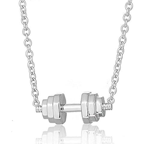 XYLUCKY 925 Sterling Silber Anhänger Herren Sport Persönlichkeit Hantel Halskette