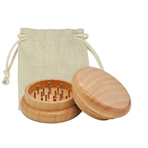 Wood Factory Grinder Holz | Premium Holzgrinder 2 teilig | Crusher | Gewürzmühle für Tee & Gewürze | Edelstahl Grinder Alternative