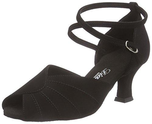Diamant Diamant Damen Latein Tanzschuhe 027-064-040, Chaussures de Danse de salon femme Noir - Noir