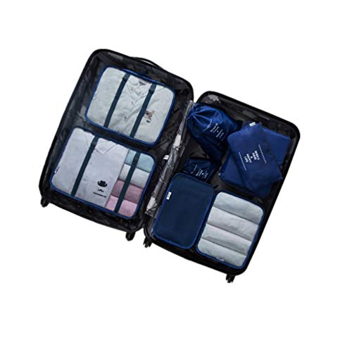 Rojeam 8 Teiliges Organizer Reise Kleidertaschen Set Koffer Reisetasche Rucksack Wasserdichte(Navy blau)