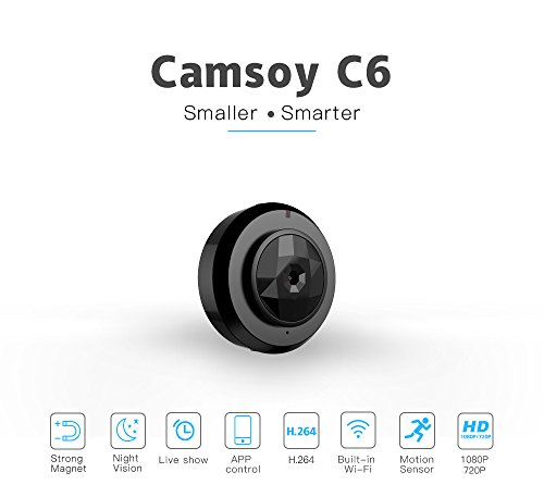 C6 Camsoy Cookycam Micro WiFi Mini Camera HD 720P with Smartphone App and Night Vision IP C1 Home Security Video Cam Camcorder