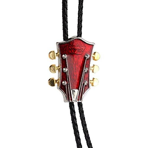 milageto Western Bolo Tie Bolas Colgante Corbata Rock Punk Guitarra Forma Música Country - Rojo