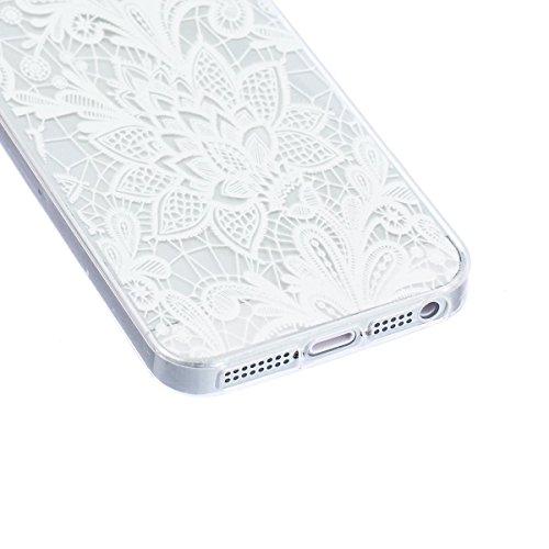 SpiritSun Coque Etui pour iPhone 5C Housse Souple de Protection Case Cas Transparente Motif Fleur Blanche Couverture Ultra Mince Poids Léger Anti Rayure - Fleur Souhaitant(Violet) Fleur Chanceux