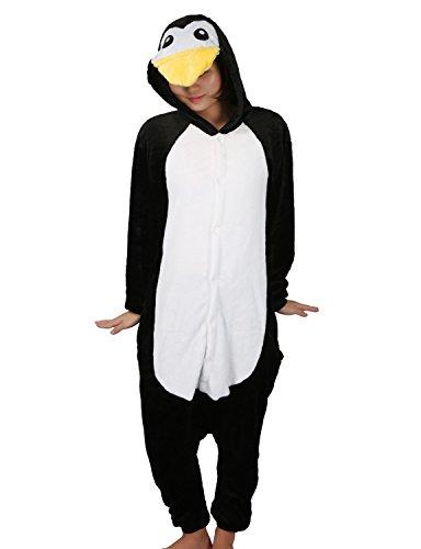 Pigiama cosplay party costume di carnevale halloween pigiama onepiece intero animali unicorno regalo di compleanno taglia s,m,l,xl (xl(178-188cm), pinguino)