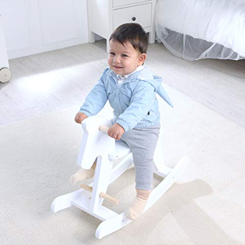 Rocking chair Health UK Sedia a Dondolo per Bambini, Giocattolo in Legno Massiccio Anti Caduta di Cavallo di Dondolo-Bianco