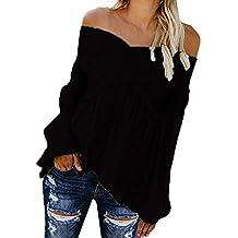 Camisetas Hombro Descubierto Mujer, Mujer Camiseta Manga Larga Sexy Hombros Descubiertos Blusa Elegante Casual Top