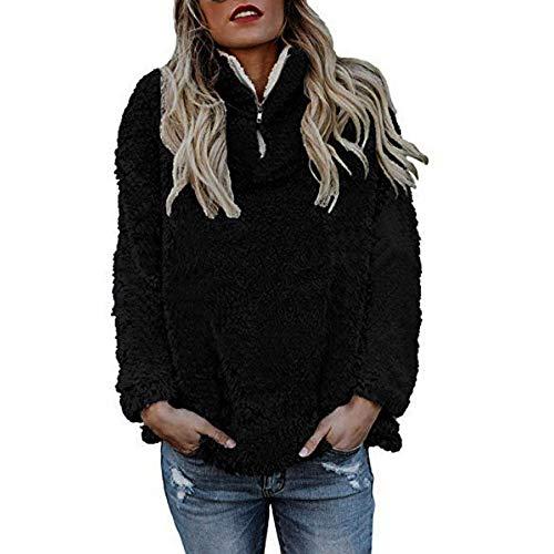 Damen Wintermantel Wollmantel Warm Kurzmantel Steppmantel mit Reißverschluss MYMYG Jacken Winterjacke übergangsjacke Zip Fleecejacke Teddy- Fleece Mantel (A3-Schwarz,EU:38/CN-L)