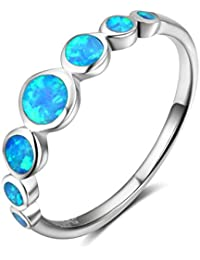 Beydodo 925 Sterling Silver Rings for Womens, Blue Round Polished Ring Size L 1/2-P 1/2 Wedding Bands Valentines Gift