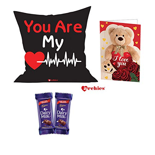Archies Love Valentines Printed Cushion 12X12 with Filler & 2 Diary Milk Chocolates for Couples with Beautiful Greeting Card (You are My Heartbeat)