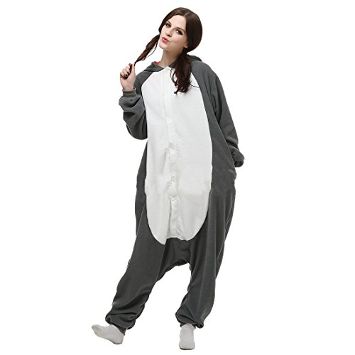 Casa Erwachsene Pyjama Tieroutfit Schlafanzug Tier Onesies Sleepsuit mit Kapuze Unisex Overall Halloween Kostüm Jumpsuit Gray Wolf