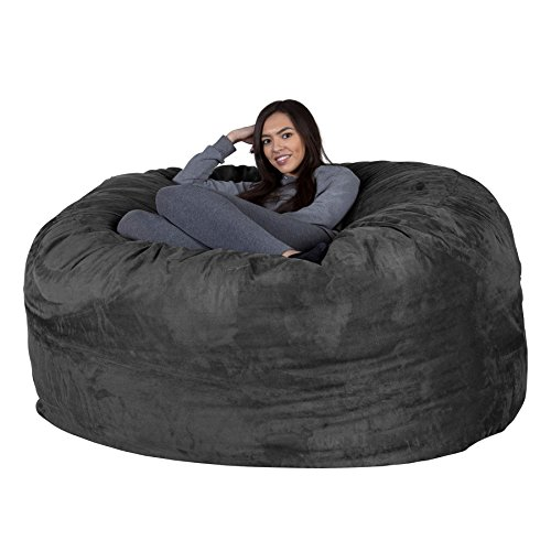 Lounge Lizard Wildleder - XXL RIESEN Sitzsack Sofa – Riesen Sitzsack, Velours, großes Sofa, Relax Matratze, UK - Schwarz