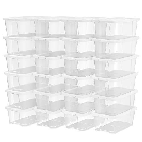 SONGMICS 24er Set Schuhboxen Aufbewahrungsboxen für Schuhe Schuhaufbewahrung Speicherbox Transparent Mit Deckel Kunststoff 35 x 20 x 12,5 cm (B x H x T) LSP24WT -