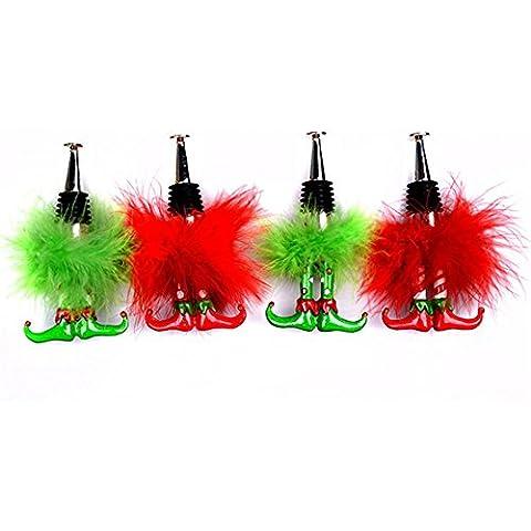 GYN 4 PCS creativo American Village artigianato bottiglia colorata vino tappo per il giardino domestico Decor, Rosso, Verde