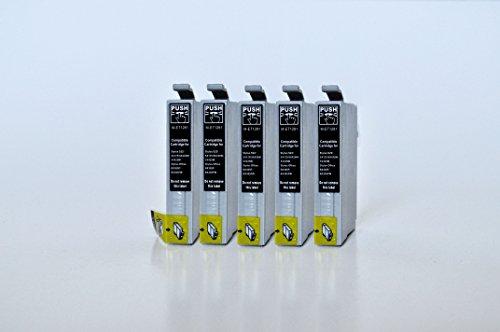 T1281 Printing Saver KIT 5 NERO cartucce d'inchiostro compatibili per EPSON Stylus S22 SX125 SX130 SX230 SX235W SX420W SX425W SX430W SX435W SX438W SX440W SX445W SX445WE Office BX305F BX305FW Plus