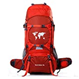 70L Erwachsene Trekkingrucksäck Wanderrucksack Rucksack für Reisen Outdoor Klettern Camping,Red
