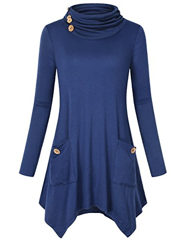 Blusen und Tuniken Damen, Hibelle Frauen Baumwoll Langarm A-Linie Flared Hemline Baggy Loose Relaxed Fit Comfy Flowy Shirts Modische Komfort Top Plain Sweatshirt Blau Medium