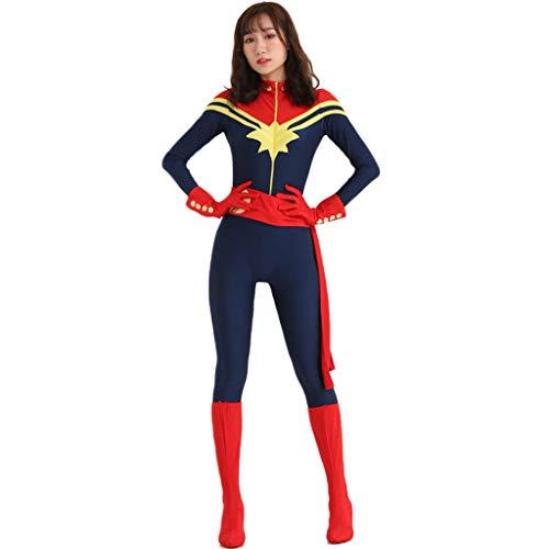 GanSouy Film Captain Marvel Bodysuit Spandex Overalls Captain Marvel Kostüm Frauen Weihnachten Halloween Show Cosplay Kostüm,Captain Marve-S