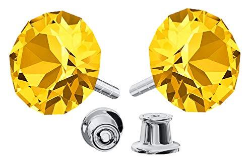 Crystals & Stones *Xirius* 925 Sterlingsilber Ohrstecker *Viele Farben* - Ohrringe mit Kristallen von Swarovski® - Schön Ohrringe Damen - Wunderbare Ohrringe mit Schmuckbox - PIN/75 (Light Topaz)