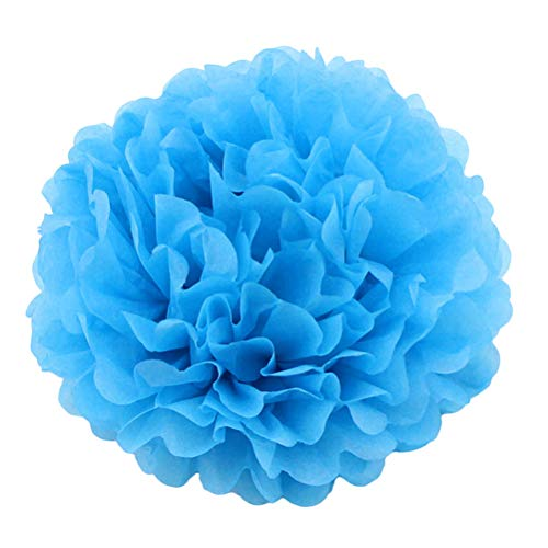 Pompons Blumenbälle Pom Poms für Hochzeit Geburtstag Baby Shower Geburtstag Party Dekoration (blau) ()