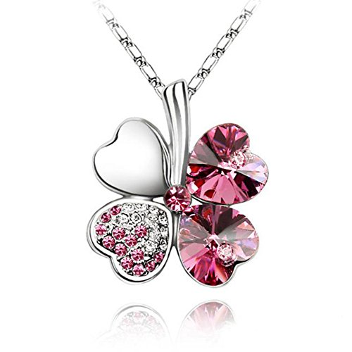 TR.OD Peach Heart Four Leaf Lucky Luck Clover Pendant Necklace Rhinestone Crystal Inlayed Jewelry for Girls Women Pink