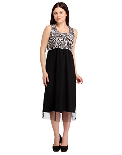 Western Long Frocks For Women Net Material   Black White Colour   Long   U Neck   Sleeveless   Evening Party Wear   Animal Print Branded Readymade Western Dress For Women  available at amazon for Rs.416