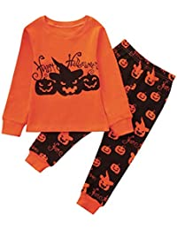 Zarupeng Kinder Mädchen Jungen Kürbis Druck Langarm Bluse Pullover Sweatshirt Tops + Hosen Baby Halloween Kleidung Outfit Set