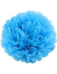 STOBOK 20 cm Papel Pompones Bolas de Flores Pompones para Boda cumpleaños Fiesta de Aniversario Fiesta de Bienvenida al bebé decoración (Azul)